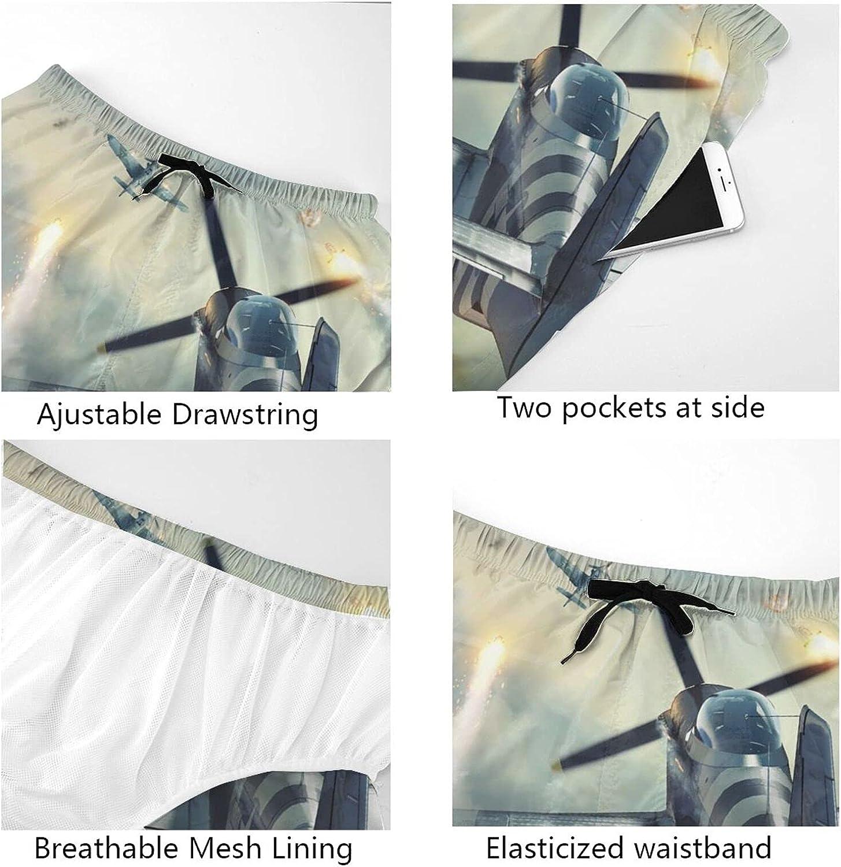 JINJUELS Men's Swim Trunks War Plane Explosion Swim Board Shorts Drawstring Elastic Swimwear Bathing Suits with Pockets