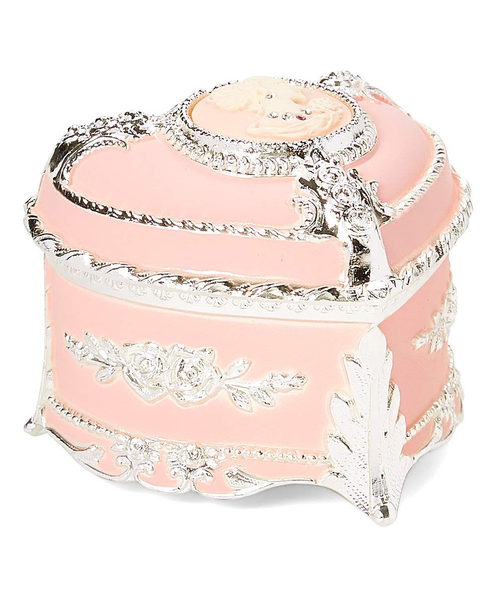 Pink Cameo Heart OFFicial mail order Shaped Music Now free shipping Jewelry Crystallized Box with