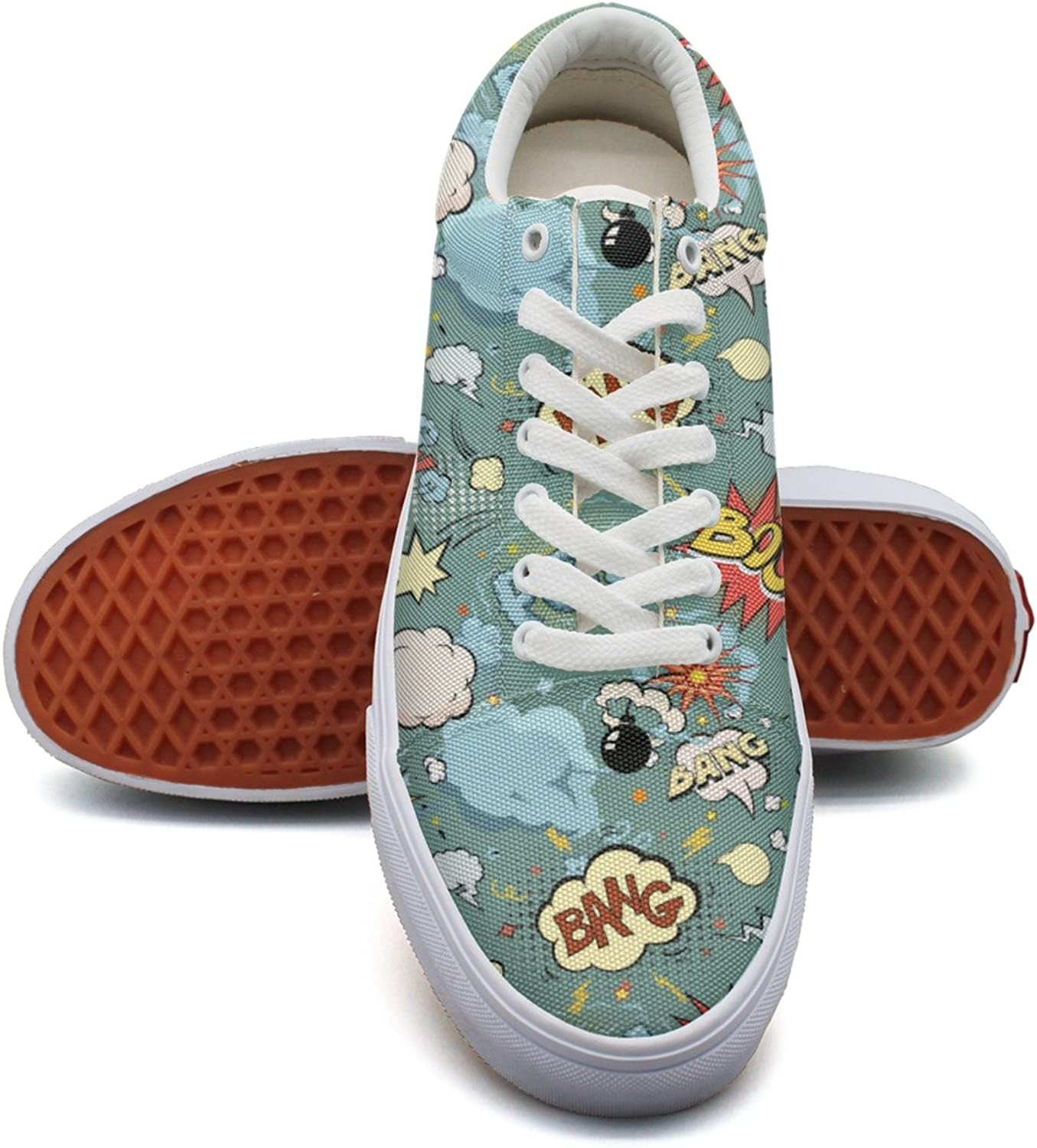 Feenfling Comic Cartoon Bubbles Womens Plain Canvas Boat shoes Low Top Neon Sneakers shoes for Women's