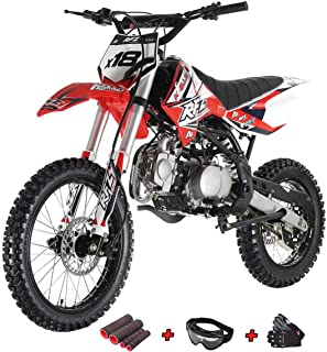 125cc Adults Dirt Bike with 4-Speed Manual Transmission, Double Spare Frame! Kick Start, Big 17