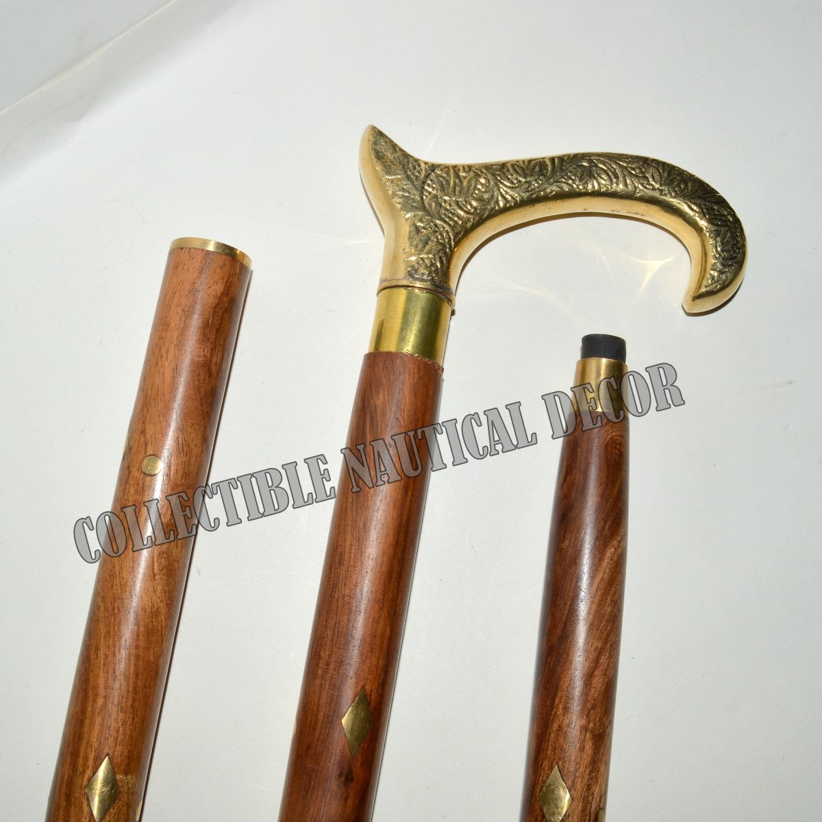 Nautical ANTIQUE Brass Head Handle Wooden Canes Walking Stick Handmade Style
