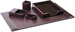 Dacasso Dark Brown Bonded Leather 5-Piece Desk Set