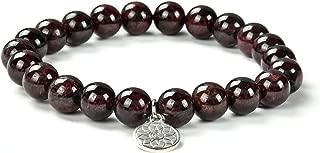 Garnet Gemstone Bracelet| Red Garnet ChakraReiki Healing Gem Stone January Birthstone | Stretchy Handmade Jewelry with Round Crystal Beads for Men Women Unisex by Crystal Agate