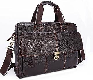 "Men's Accessories 13"" Laptop Notebook Tablet,Business Men's Leather Briefcase Messenger Crossbody Shoulder Handbag Bag for Outdoor Recreation (Color : Brown)"