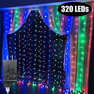 KZOBYD 320 led Curtain Lights Colorful Fairy String Lights linkable Electric Window Lights Waterproof 8 Mode Twinkle Wire Lights for Christmas Halloween Backdrop Wall Decorations(320LED, Multi Color)