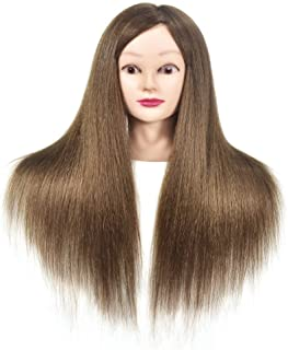 Mannequin Head with 100% Human Hair Hairdressing Practice Training Doll Heads Cosmetology Hair Styling Mannequins Heads with Clamp