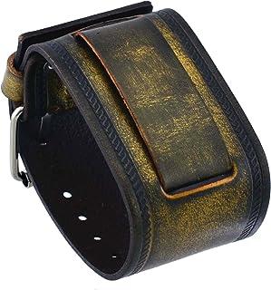 ネメシス# in-bz 24mmラグ幅ワイドブロンズブラウンレザーカフ手首腕時計バンド
