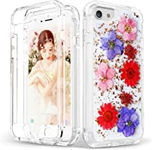 """SEYMAC iPhone 8 Case iPhone 7 Case, [Real Dried Pressed Flower] Full Body Protection [Shockproof] Girls Women Case for 4.7"""" iPhone 8/iPhone 7/iPhone 6/iPhone 6s (Red)"""