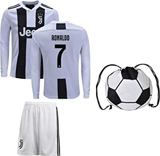 Cristiano Ronaldo Juventus #7 Youth Soccer Jersey Home/Away Long Sleeve Shorts Kit Kids Gift Set