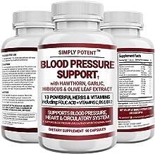 Blood Pressure Support Supplement - Healthy Heart, Cholesterol, Cardio, Hypertension, High BP - 13 Vitamins & Herbs - Foli...