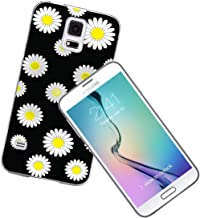 S5 Case Daisy - Case for Galaxy S5 - Protector Cover Compatible for Samsung S5 - Black Colorful Beautiful Floral Flower Print Yellow Daisy Cute Flower for Girls