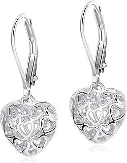 Heart Earrings Hollow Shaped S925 Sterling Silver Leverback Earrings for Women Girls Dangle Drop Earrings