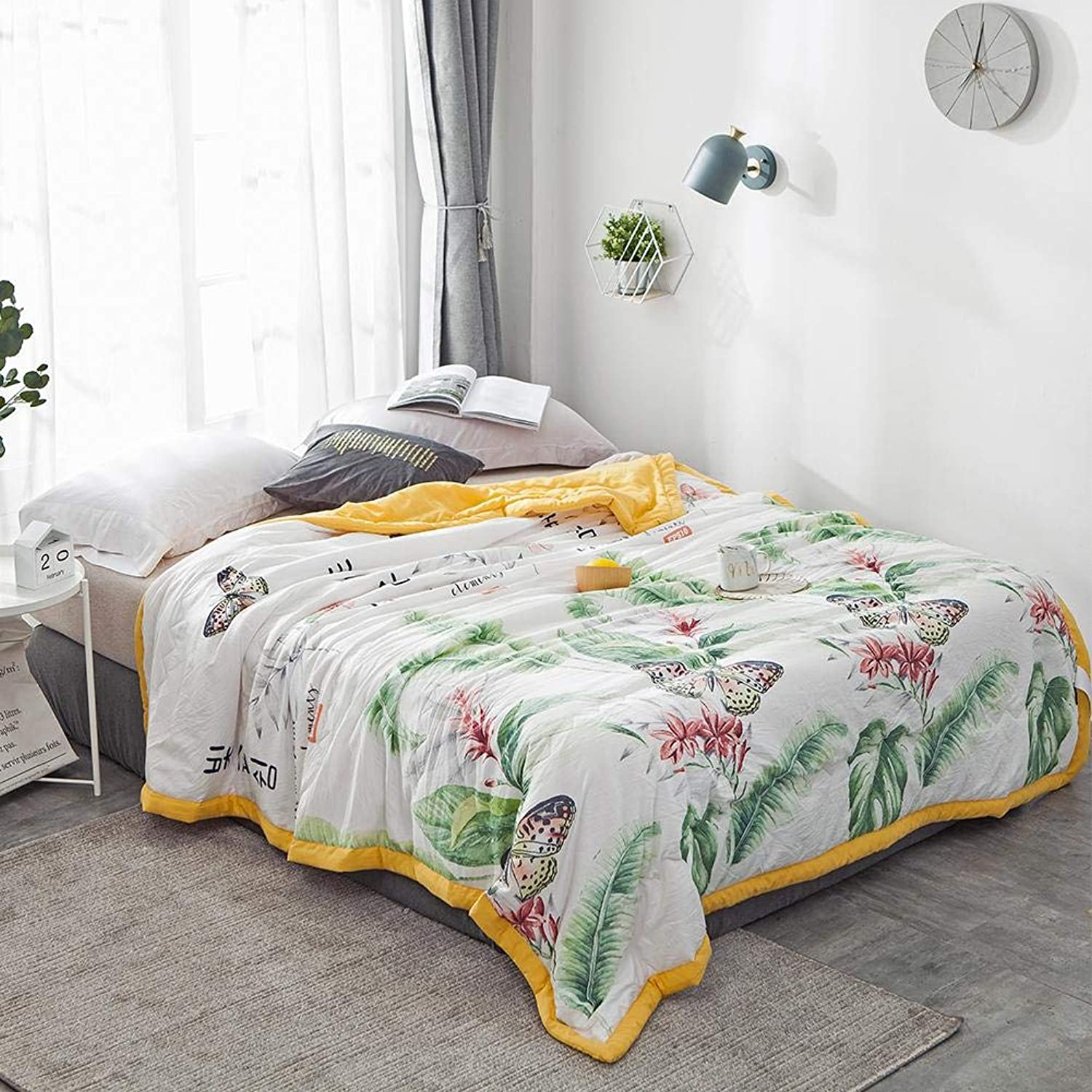Air Conditioner Quilt, Washable Cotton Summer Cool Quilt Cartoon Printing Cute Comfortable Light Blanket for Baby Teens and Adults
