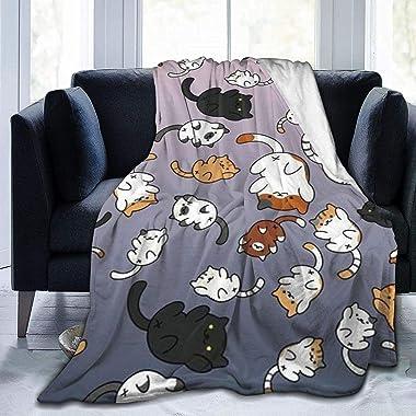 かわいい猫柄 毛布 ト おしゃれな ブランケット 多機能マイクロファイバー なめらかな肌触り 暖房対策 四季通用 軽量 薄手 静電防止 ブランケット
