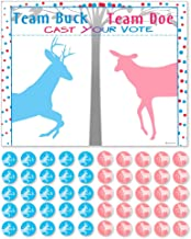 PROLOSO Baby Shower Gender Reveal Voting Board Team with Pink & Blue Stickers (Buck or Doe)