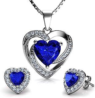 DEPHINI - Blue Heart Necklace & Heart Earrings Set - 925 Sterling Silver - Crystal Studs & Pendant Birthstone - Fine Jewel...