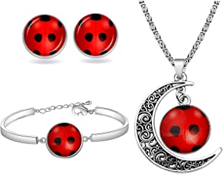 WSNANG Good Luck Ladybug Jewelry Ladybug Bracelet/Necklace/Stud Set Ladybug Lover Gift Insect Lover Gift Wish Lucky Gift f...