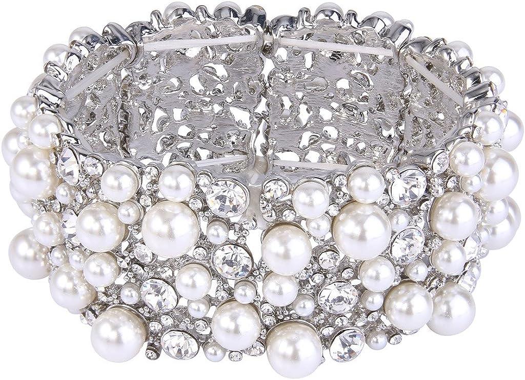 EVER FAITH Women's Crystal Vintage Style Elegant Bridal Elastic Stretch Bracelet