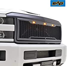 EAG Replacement Upper Grille ABS Front Grill with Amber LED Lights - Charcoal Gray - Fit for 15-19 Chevy Silverado 2500 3500 Heavy Duty