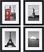 ONE WALL Tempered Glass 8x10 Picture Frame Set of 4 with Mats for 5x7, 4x6 Photo, Black Wood Frame for Wall and Tabletop - Mounting Hardware Included