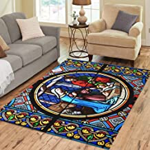 Pinbeam Area Rug Nativity Scene Stained Glass Window in The Cathedral Home Decor Floor Rug 5' x 7' Carpet