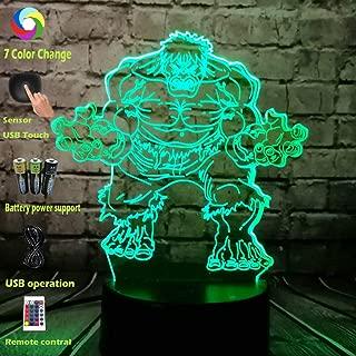 Creative Acrylic Lava 3D LED USB Lamp Movie Marvel Super Hero Avengers Figure Hulk 7 Color USB RC Change Holiday Table Decor Mood Night Light Birthday Xmas Gift Boy Kids Toys(Fat Hulk)