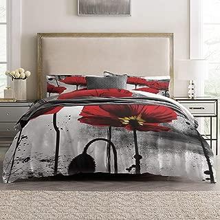 Duvet Cover Sets - Vintage Ink Red Poppy Flower 4 Piece Queen Bedding Sets Soft Microfiber Bedspread Comforter Cover and Pillow Shams for Adult/Children/Teens