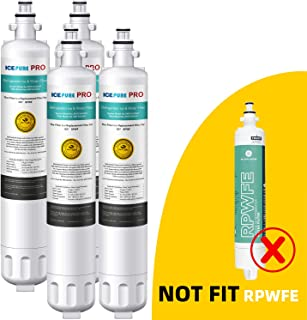 ICEPURE PRO NSF 53&42 Certified RPWF Refrigerator Water Filter, Compatible with GE RPWF, Advanced [4 Pack]