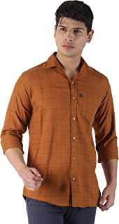LEVIZO Men's Checkered 100% Cotton Casual Classic fit Full Sleeves Shirt