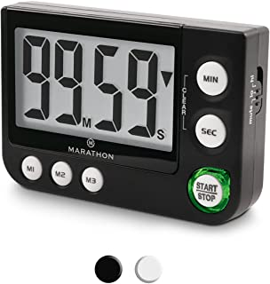 MARATHON TI030016BK Large Display 100 Minute Count UP/Down Timer with Adjustable Volume and Flashing Light Feature. Great for Visually or Hearing Impaired. Color- Black