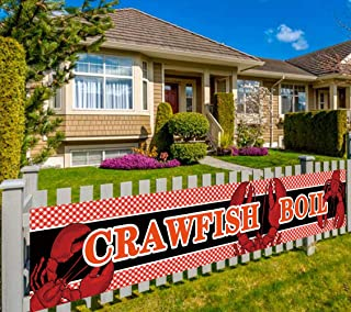 Large Crawfish Boil Sign Banner, Crawfish Boil Party Supplies Decorations (9.8 x 1.6 feet)