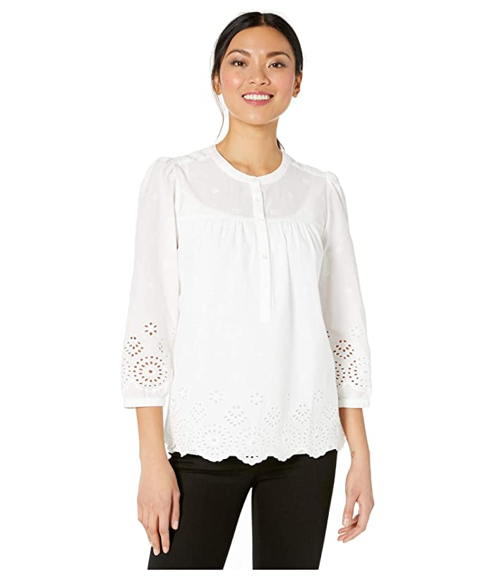 Lucky Brand  3/4 Sleeve Button Neck Rebecca Eyelet Popover Top (Lucky White) Womens Clothing