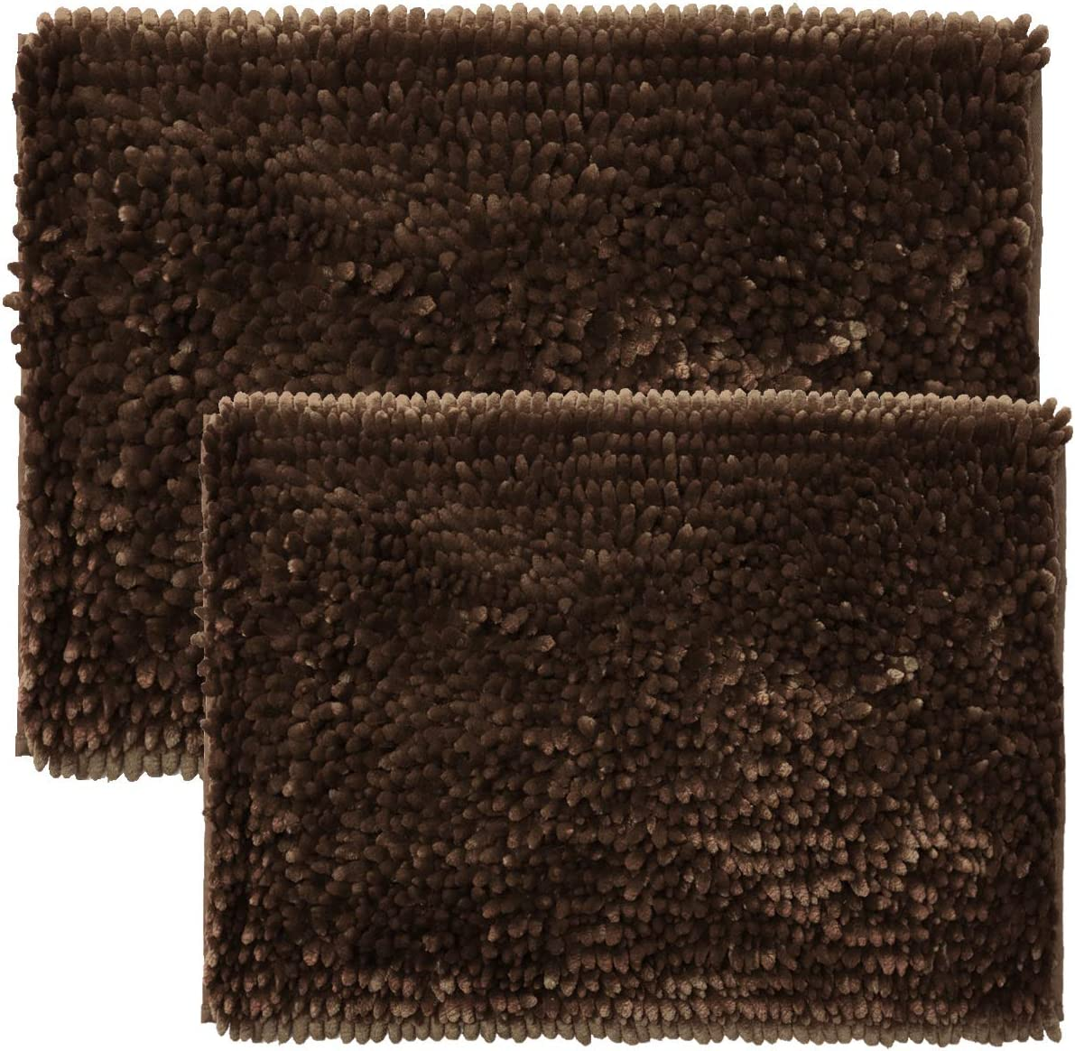Amazon Com Sweet Home Collection Bath Set 2 Piece Butter Chenille Noodle Soft Luxurious Rugs Absorbent Non Slip Latex Back Microfiber Bathroom Mat 1 17 X 24 1 20 X 32 Coffee