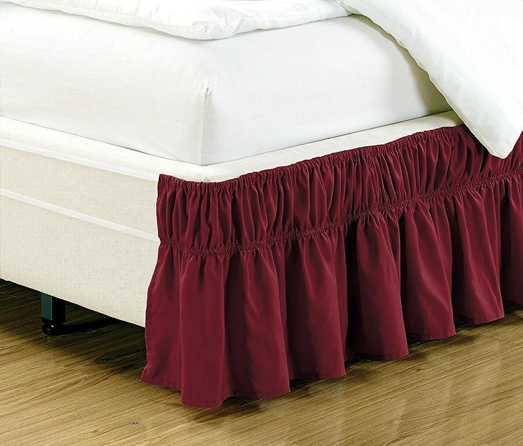 経済処方苦情文句リネン プラス ツイン-フルサイズ 伸縮ベッドスカート 43.18cm ドロップ イージーオン/イージーオフ ダストフリル ソリッド バーガンディ