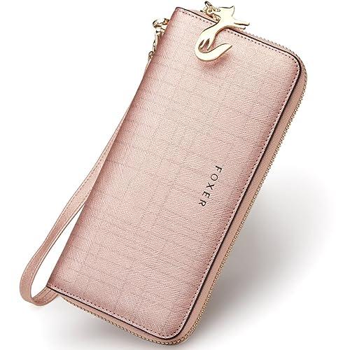 f43dd74587d FOXER Women Leather Wallet Bifold Wallet Clutch Wallet with Wristlet Card  Holder