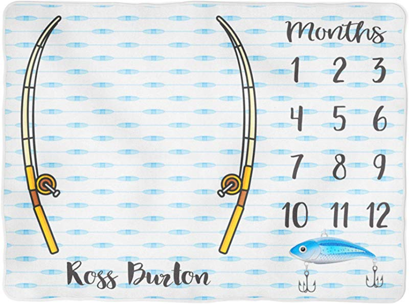 Fishing Milestone Blanket Fishing Pole Boy Personalized Baby Blanket Monthly Tracking Growth Blanket