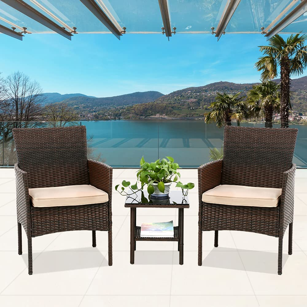 Branded goods 3 Piece Rattan Weekly update Chairs and Table Bistro Convers Wicker Patio Sets