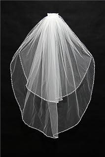 YHKQS-KQS Hochzeit Schleier 70-80cm Europa Und Die Vereinigten Staaten Dame Double Braut Kurz Schleier Super Soft Ribbon Wrapping Schleier