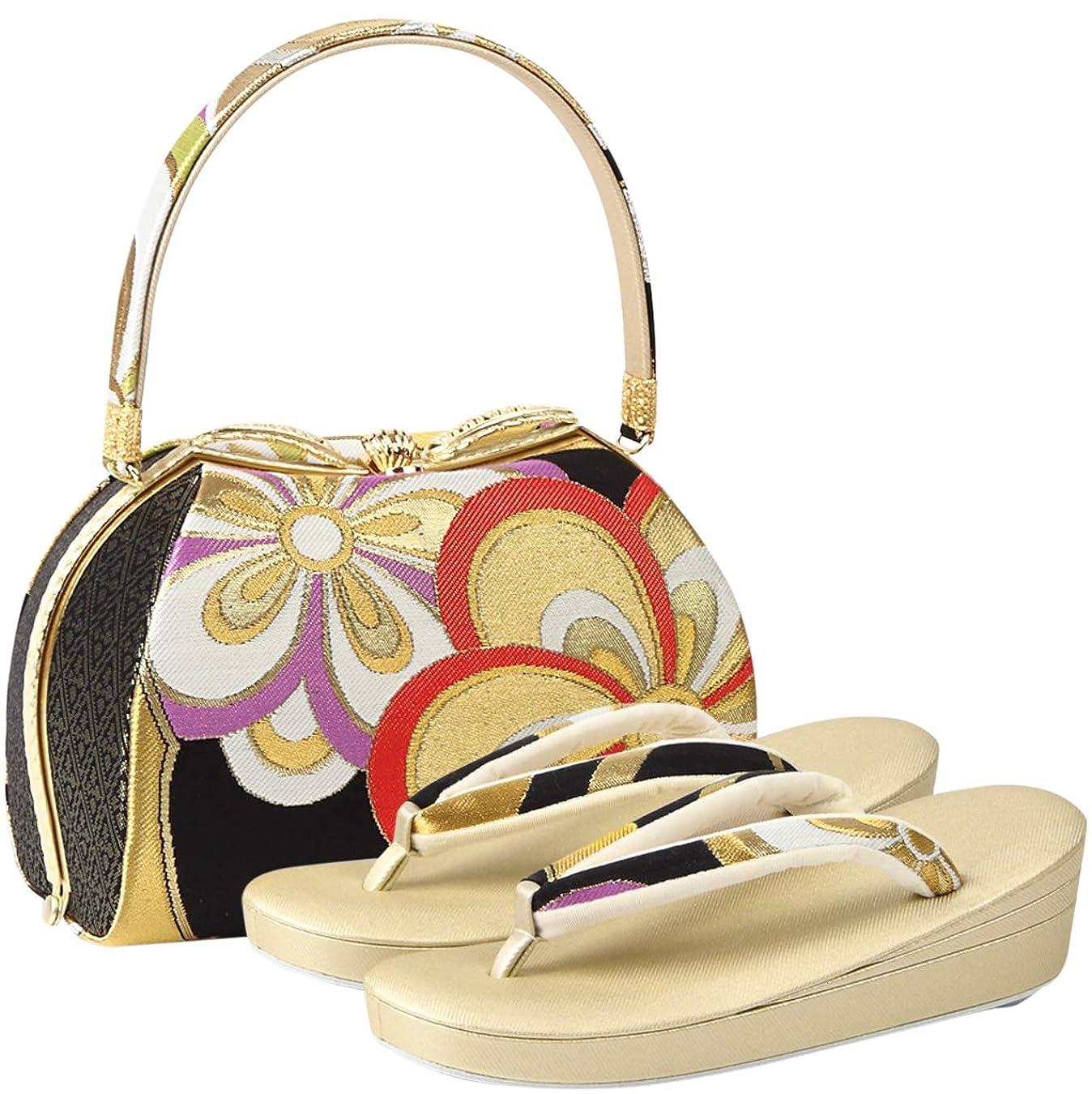 十乙女入口[紗織] 草履バッグセット レディース フリーサイズ 金色 N3452