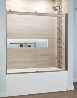 Basco Rotolo 56-60 W x 57 H inch Semi-Frameless Sliding Bathtub Door Clear Glass, Brushed Nickel (RTLA05B6057CLBN)