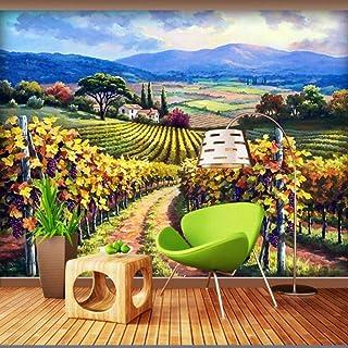 hhlwl Custom 3D Wallpaper Grape Pastoral Landscape Mural Living Room Bedroom TV Background Wall Mural Painting Oil Paintin...