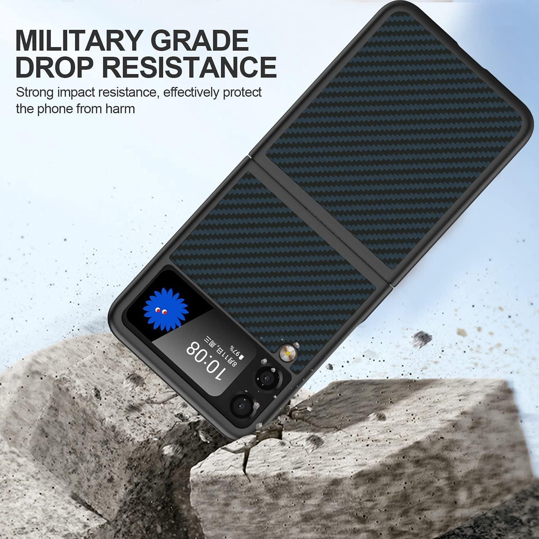 CENMASO Slim Designed for Samsung Galaxy Z Flip 3 Case, 3D Aramid Fiber Layer Minimalist Impact Resistant Bumper Case for Galaxy Z Flip 3(Matte Blue)