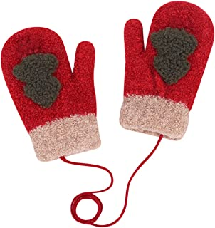 Toddler Warm Gloves Knitted Soft Fleece Lined Full Finger Baby Mitten with Strap