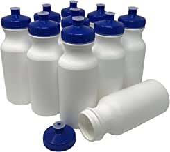 CSBD Blank 20 oz Sports and Fitness Squeeze Water Bottles, BPA Free, HDPE Plastic, Made in USA, Bulk, 10 Pack