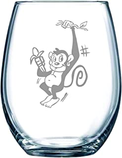 C M Monkey stemless wine glass, 15 oz.
