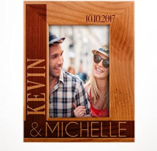 Personalized Wooden Wedding, Engagement, Valentines Day, Memorial Picture, Customized Bamboo Photo Frame - Custom Frame - Size Options: 4x6   5x7   8x10 L2