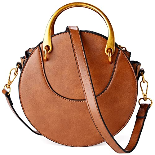 Leather Round Purse Fashion Tote Bag Crossbody Bag for Women (Brown)