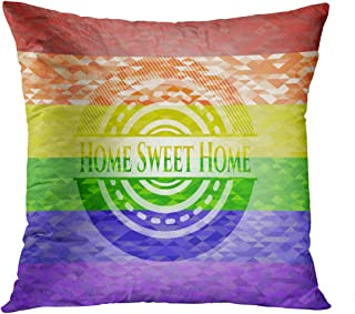 Benxii Throw Pillow Cover Home Sweet Emblem Mosaic Colors LGBT Flag Home Durable Soft Decorative Polyester Pillowcase Square Cushion Couch for Sofa 16x16 Inches