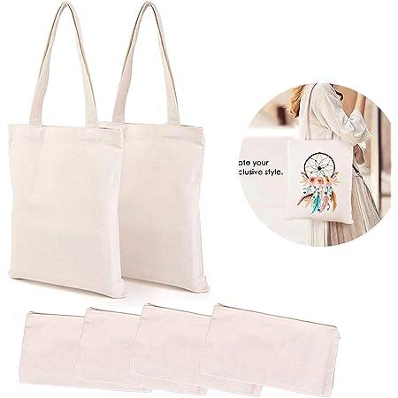 Hileyu Lot de 6 trousses à crayons en toile,4 pochettes vierges en toile avec fermeture éclair pour loisirs créatifs en vinyle,sac de maquillage uni et 2 sacs fourre-tout en toile pour le bricolage