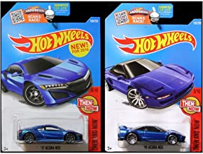 Mattel Hot Wheels 2016 Then and Now 2017 and 1990 Acura NSX Set in Blue